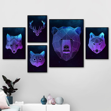 Geometry Fox Panda Bear Wolf Cat Deer Wall Art Canvas Painting Nordic Poster And Print Animal Picture For Living Room Decor