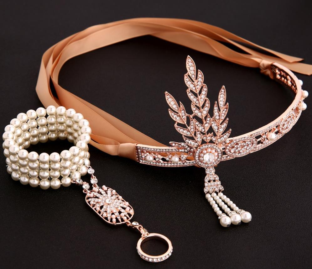 Women's Great Gatsby Headbands Pearl Ring Set Headpiece Flapper Fancy Party Costume Accessory Wedding Bridal Tiara Headpiece