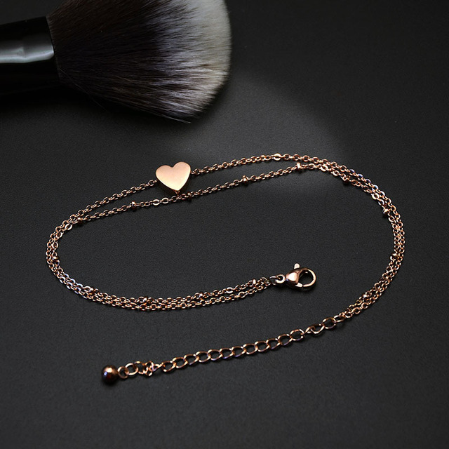 silver/gold/rose gold stainless steel double layer heart charms anklet