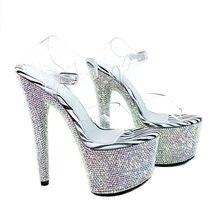 Leecabe Shinny rhinestone sandalias de plataforma de las mujeres zapatos de  baile 7 pulgadas zapatos de tacones altos discoteca . 22ece6bc99c2