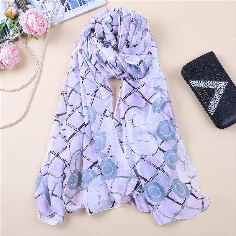 2019 Fashion Silk Scarf Shawl Women Floral Elegant Pashmina Scarfs Lady Summer Beach Scarves Wrap Femme Hijab