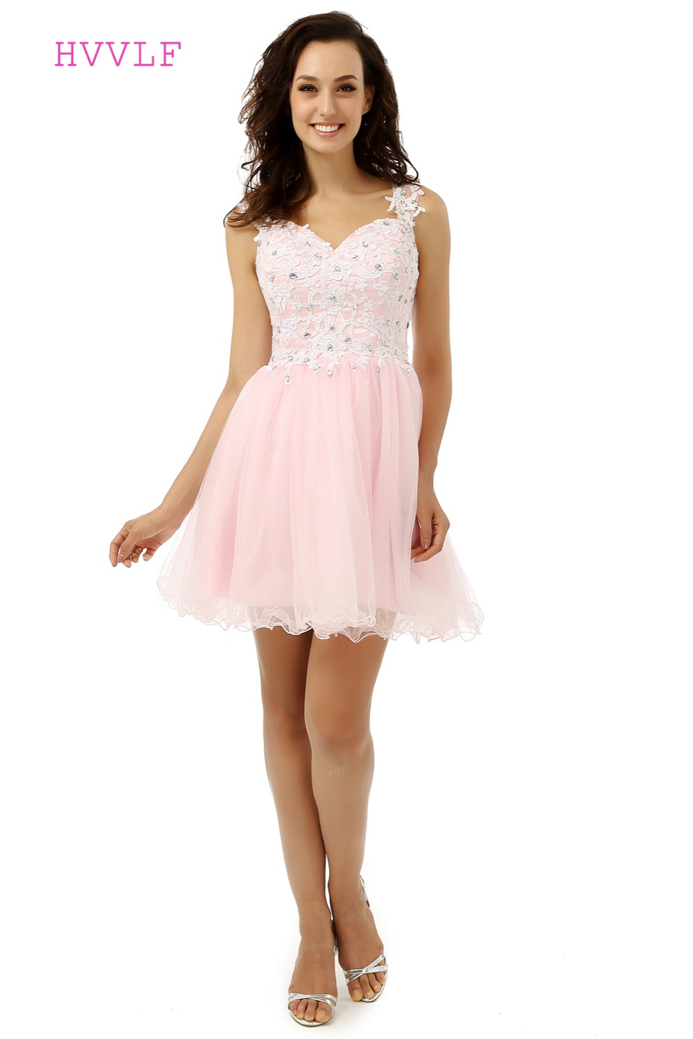 Pink Homecoming   Dresses   A-line Sweetheart Organza Beaded Appliques Lace Short Mini Sparkly See Through   Cocktail     Dresses   2019