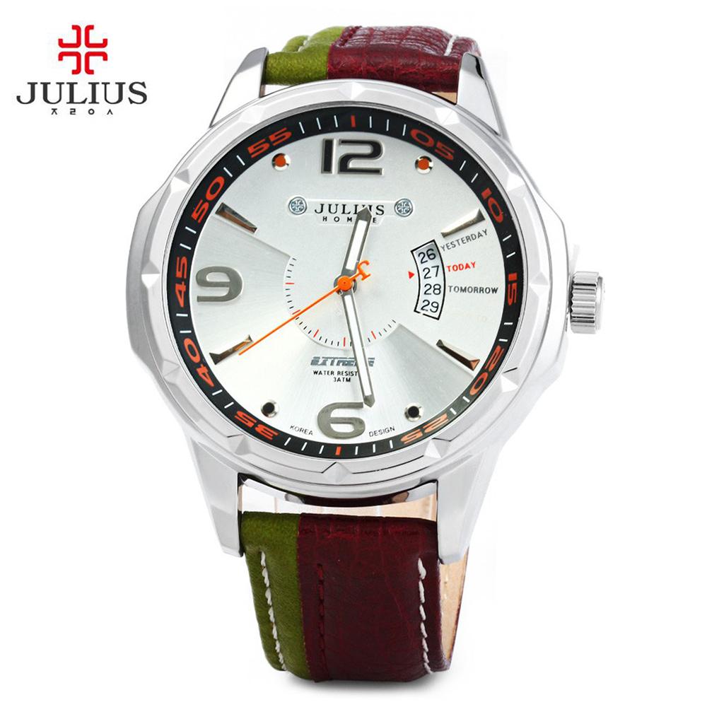 Prix pour Julius Marque De Mode Hommes de Sport montres Hommes Quartz Véritable Bracelet En Cuir Militaire de L'armée Montre-Bracelet Étanche Relogio Masculino