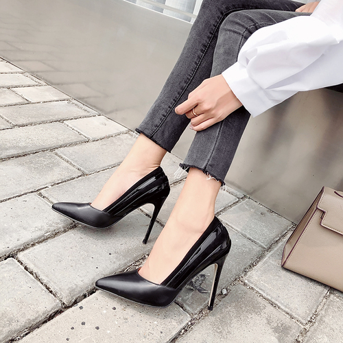 Odinokov Thin Heels Extreme Dress-Shoes Pointed-Toe Patent Super-High Spring/autumn Basic