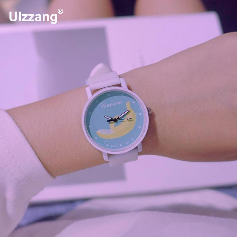 1pc/lot New Fashion Ulzzang Cute Banana Fruit Jelly Safe Silicone Band Quartz Wrist Watch Wristwatches for Women Girls Children new ulzzang brand simple vintage leather black brown quartz wristwatches wrist watch for men women students
