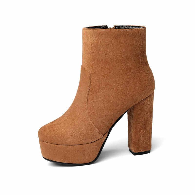 NEMAONE 2020 yeni en kaliteli akın deri çizmeler kadınlar yüksek topuklu platform yarım çizmeler kadınlar için yuvarlak ayak sonbahar kış ayakkabı