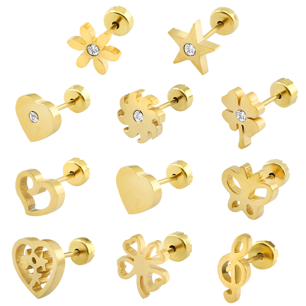 Gold earrings designs for baby girls