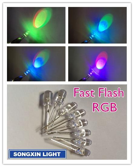 200 pcs 5mm RGB Fast Flash Rainbow MultiColor Red Green Blue LED Free Shipping