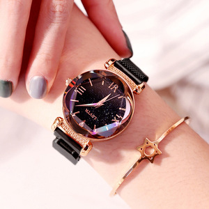 Image 5 - Женские наручные часы, роскошные часы из розового золота с магнитной застежкой и браслетом звездного неба, 2019