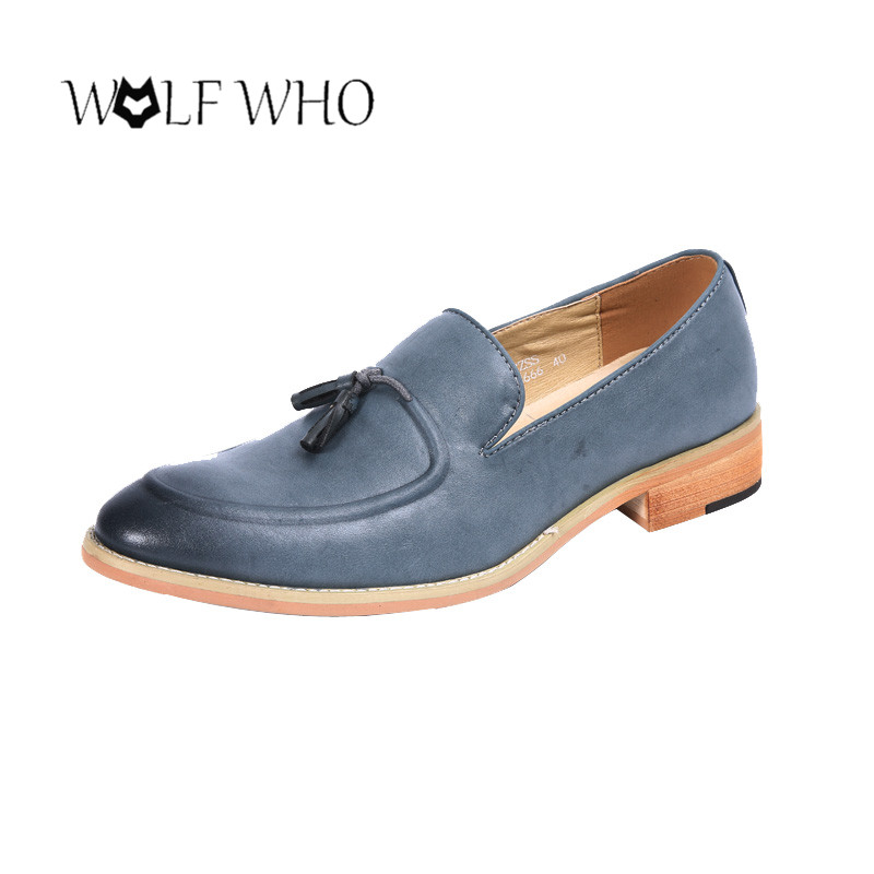 WolfWho New Men Tassel Party Wedding Men Dress Shoes British Style Loafers Fashion Men's Flats Split Leather Shoes Zapatillas 2017 men shoes fashion genuine leather oxfords shoes men s flats lace up men dress shoes spring autumn hombre wedding sapatos