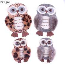 Prajna Cute Owl Beaded Patches Sewing On For Clothing Bags Comfortable Fluff Patch Button With Eyes Accessories Decor