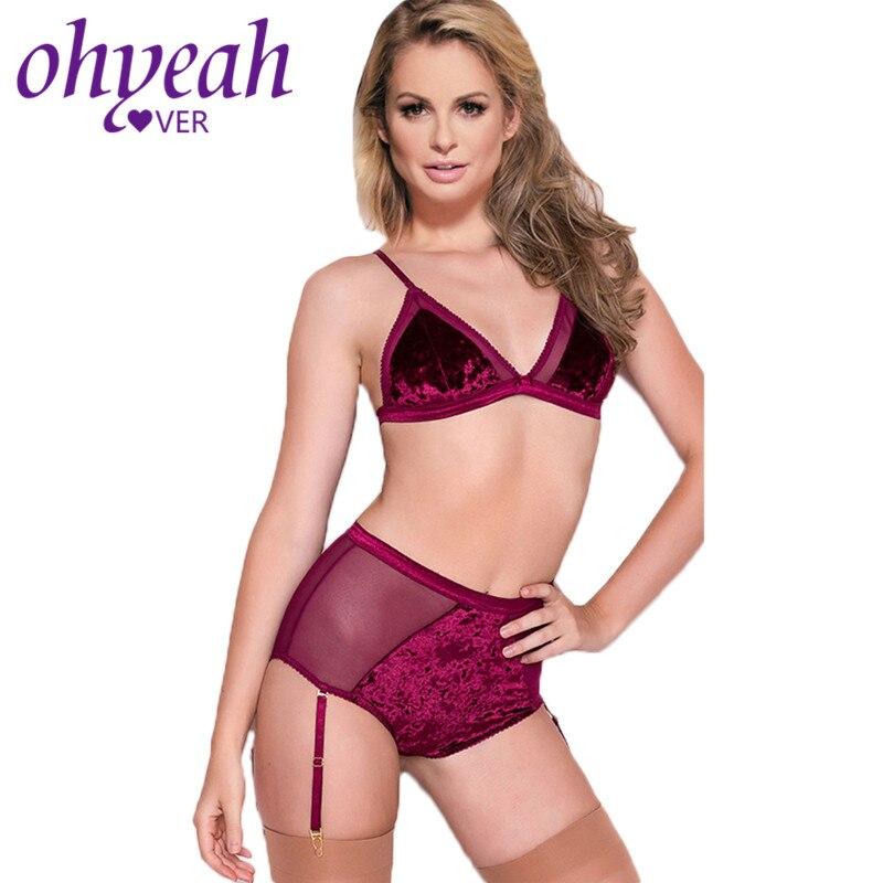 ELOVER Women Lingerie Set High Waisted Panty and Bra Set Lace Bralette Set 3 Piece Babydoll Purple,M