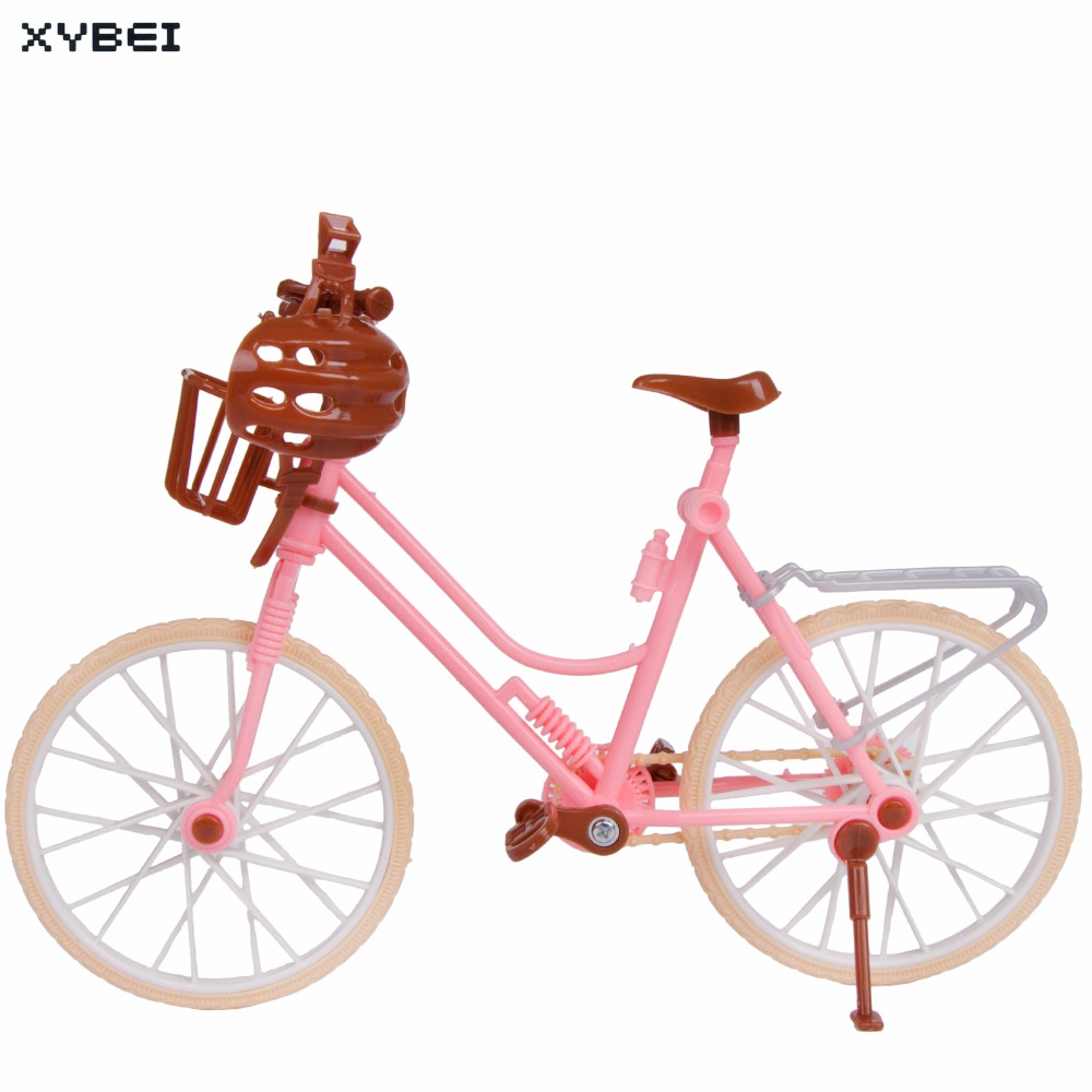 High Quality Plastic Bicycle Fashion Pink Detachable Bike + Basket + Helmet Outdoor Toy For Barbie Doll Accessories Kids