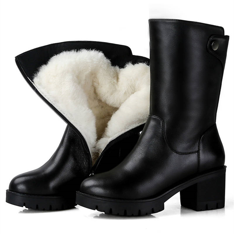 MORAZORA 2019 russia genuine leather natural wool boots round toe zip warm snow boots comfortable mid calf boots women shoes-in Mid-Calf Boots from Shoes