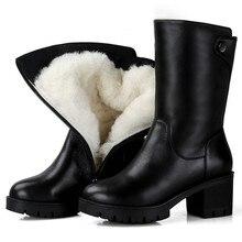 MORAZORA 2020 러시아 정품 가죽 천연 양모 부츠 라운드 발가락 지퍼 따뜻한 스노우 부츠 편안한 중반 송아지 부츠 여성 신발