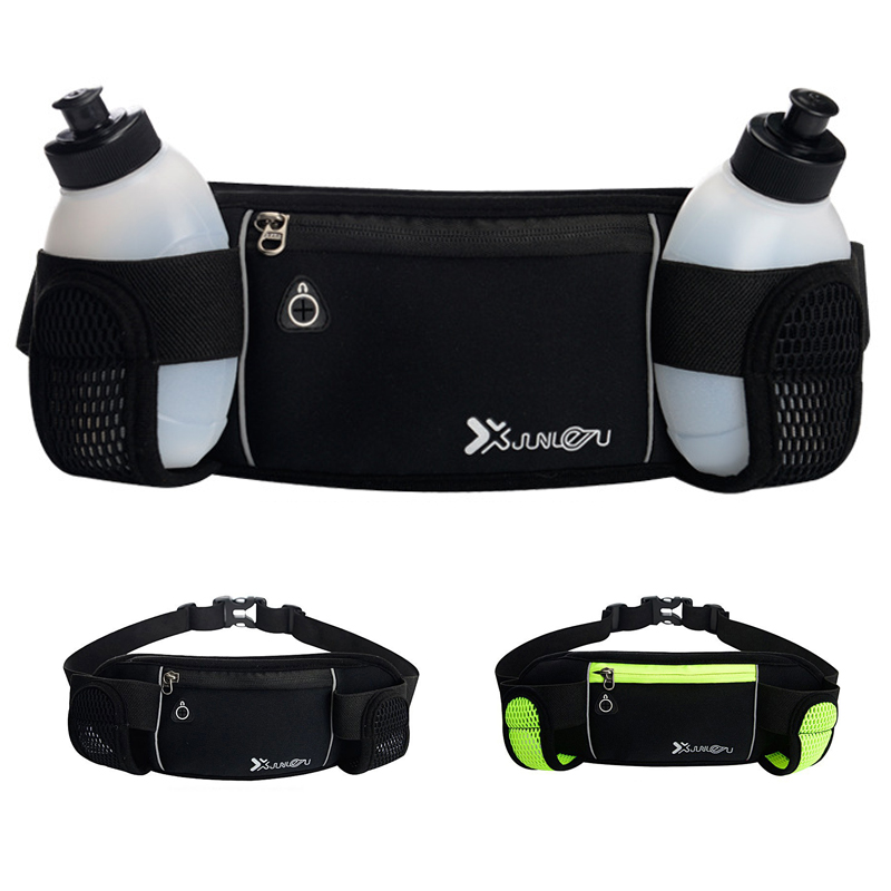 Women Men Running Waist Bags Ladies Waterproof Mobile Phone Belt Bag Female Black Green Nylon Two Water Bottle Fanny Packs 527