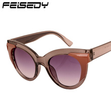 FEISEDY New Retro Cat Eye Sunglasses Women Brand Designer Vintage Splicing Decoration Sun Glasses Personality Lunettes Gafas