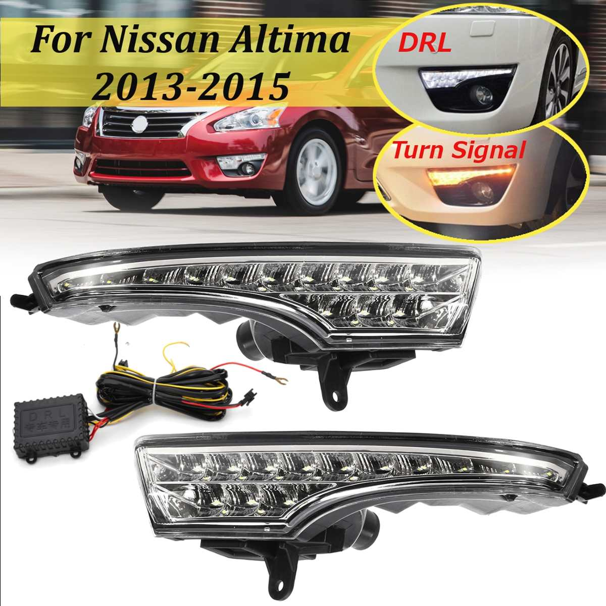 Led Drl for Nissan Altima Teana 2013 2014 2015 Daytime Running Light Front Bumper Driving Fog Lamp Daylight Headlight Turn Blink