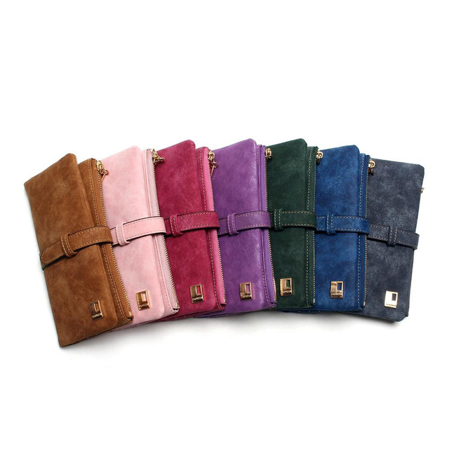2019 New Fashion Women Wallets Drawstring Nubuck Leather Zipper Wallet Women's Long Design Purse Two Fold More Color Clutch 4