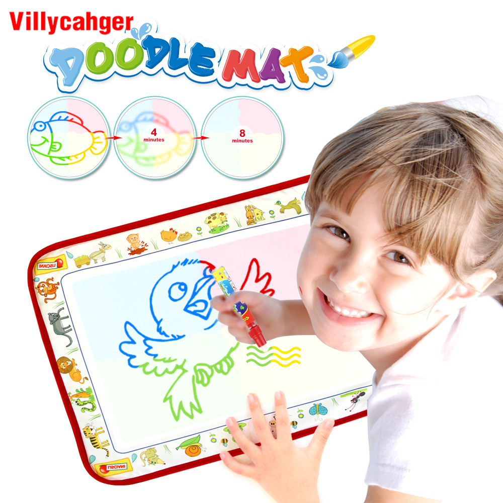 38.5x29cm 4 Color Magic Water Drawing Mat With 1 Pen Water Drawing Book Painting Toys Board Play Mat Educational Toys For Kids