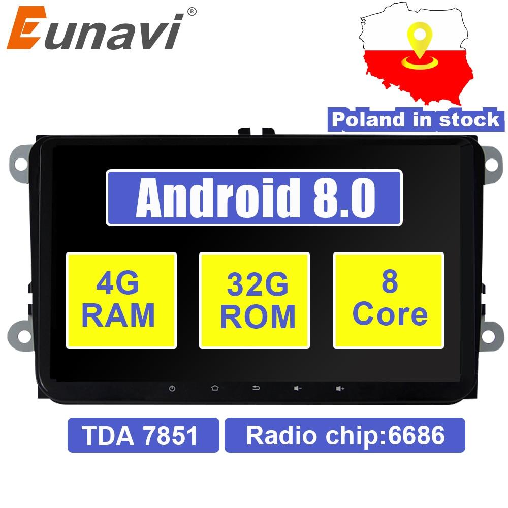 Eunavi 2 din 9 ''Android 8.0 TDA7851 autoradio stéréo GPS pour VW Passat B6 CC Polo DE GOLF 5 6 Touran jetta Tiguan Magotan Siège