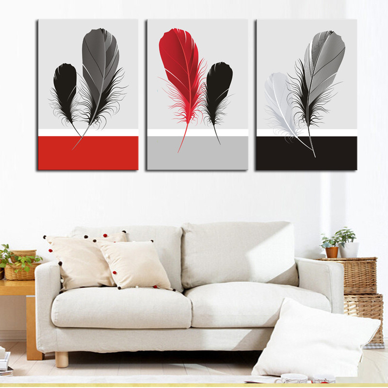 ᗐ3 Piece Red Black Gray Feather Still Life Painting Home Living ...