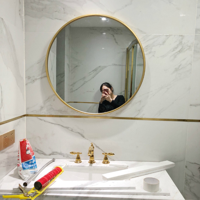 European Gold Round Bathroom Mirror Makeup Mirror Bathroom