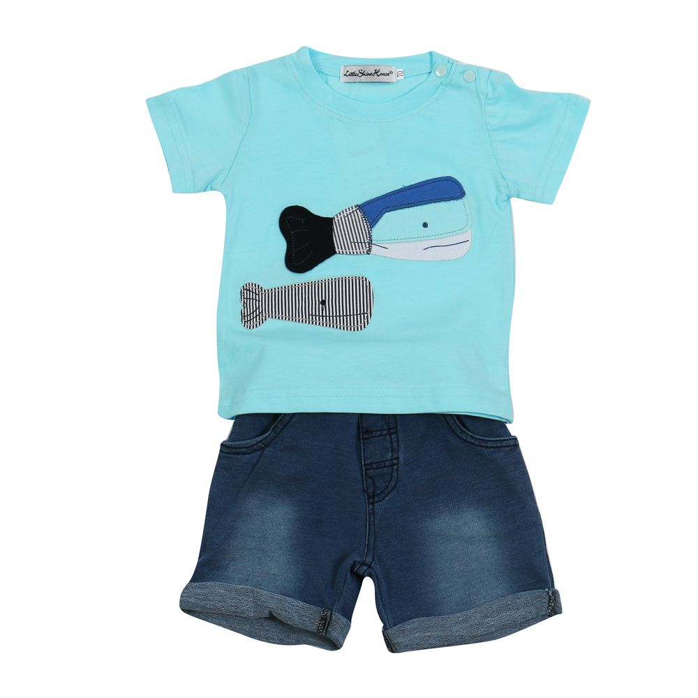 2017-Summer-Style-Infant-Clothes-Baby-Clothing-Sets-two-small-fish-model-Cotton-Short-Sleeve-Tshirt-jeans-2pcs-Baby-Boy-Clothes-1