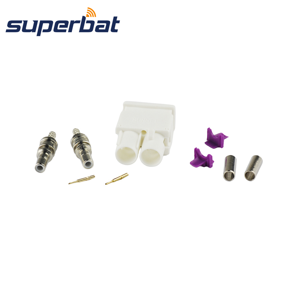 Superbat Fakra B White /9001 Crimp Double Male Plug Connector Radio With Phantom For Coaxial Cable RG316 RG174 LMR100