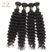 Queenberry Włosy Peruwiański Głęboka Fala Dziewiczy Włosy 4 Zestawy Natural Color Nieprzetworzona Ludzki Włos Wiązki Peruwiański Przedłużanie Włosów