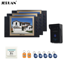 """JERUAN 8"""" video door phone doorbell intercom system with video recording photo taking access control system 3 house 1 outdoor"""