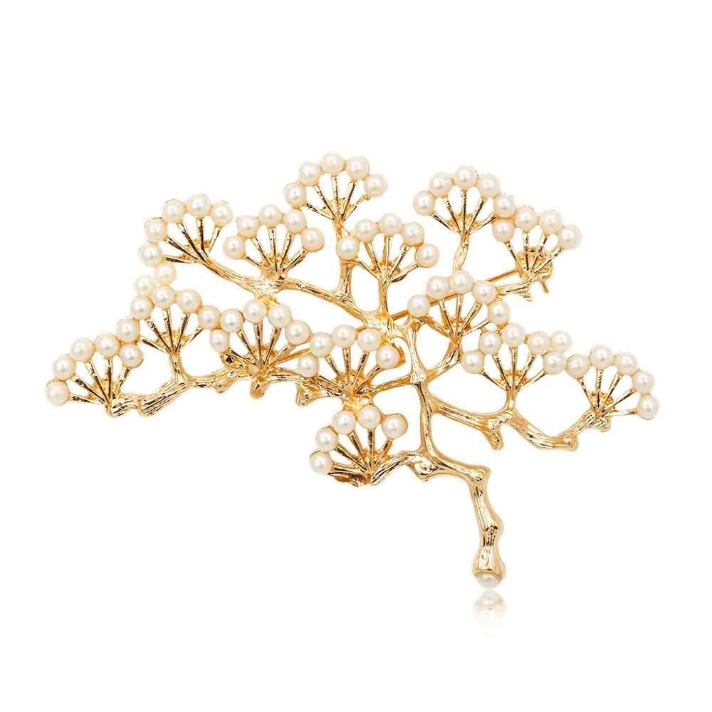 Naturstein Brosche Anhänger Zubehör Retro Baum Design Imitation Perle Pin Broschen Schmuck Für Frauen Und Männer