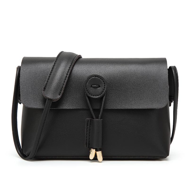 Vintage PU Leather Women Messenger Bags Fashion Buttons Design Women Shoulder Bags Black Shoulder Strap Ladies Small Bolsos Bags