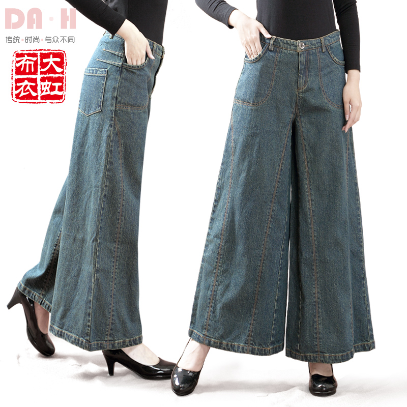 Free Shipping 2017 New Fashion Female Loose Plus Size 26-35 Jeans Wide Leg Pants Trousers Women Denim High Quality Ladies Pants ar 3050 2фигурка на липучке колибри на розе с цв кр юнион
