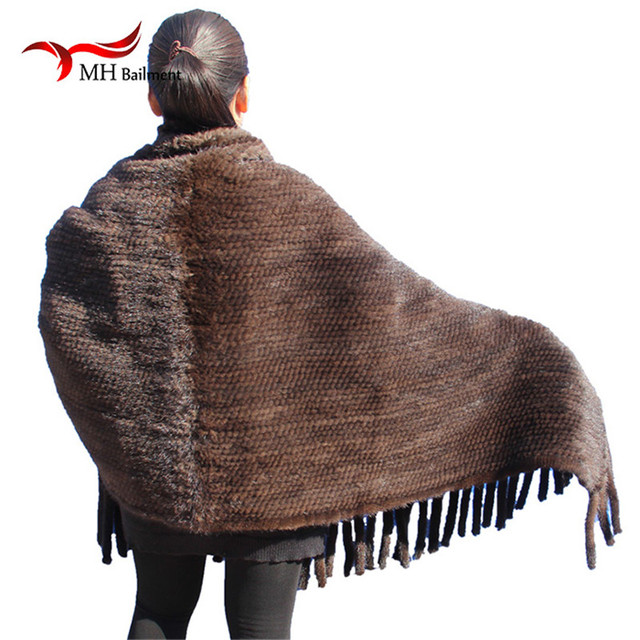 Elegant Real Knitted Mink Fur Shawl Scarf Womens Casual Poncho Knitted Mink Fur Black Scarves Scarf, Hat Glove Sets S#2 5