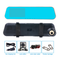 Dual Lens Car Camera Rearview Mirror Motion Montitoring Support Front Car Distance Warning Reverse Auto Switch