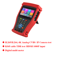 New 4.3 inch H.265 4K IP tester IP CVBS Analog test in one CCTV tester Monitor with Digital multi-meter for security camera test