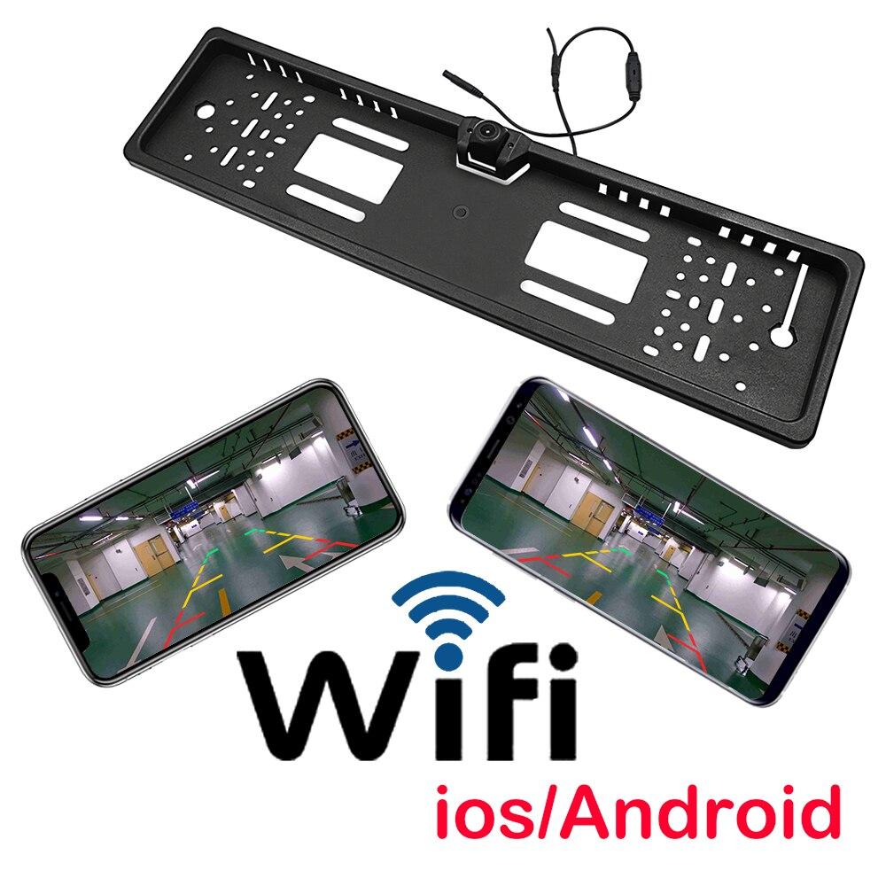 Caméra de recul sans fil de haute qualité avec vue arrière de voiture Wifi avec cadre d'immatriculation européen pour enregistrement vidéo IOS Android