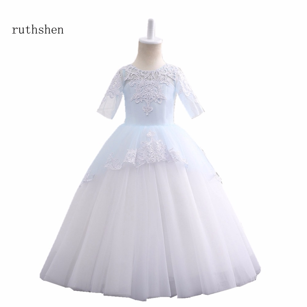 ruthshen Best Selling Little Princess Pageant   Dress   Tulle Long Sleeves Lace   Flower     Girls     Dresses   Appliques First Communion   Dress