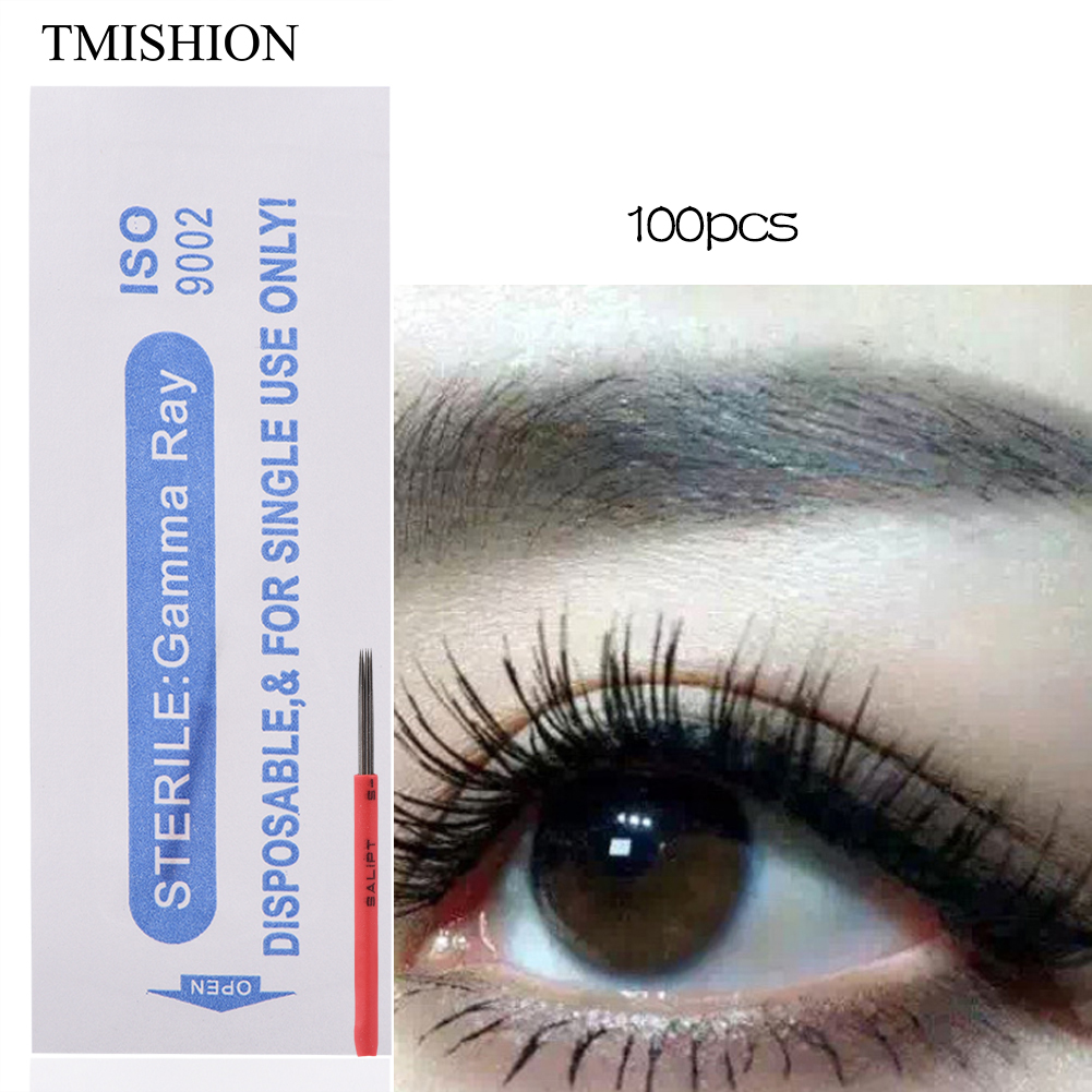 100pcs Disposable Sterile R5 LINER Microblading Needle Fog Eyebrow Tattoo  Manual Blades Permanent Makeup Hand Embroidery Supply