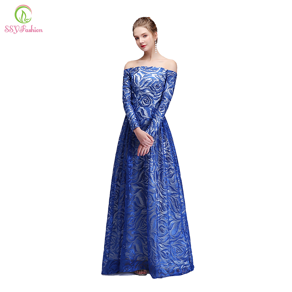 SSYFashion Blue Evening Dress Banquet Elegant Boat Neck Long Sleeved Sweep  Train Lace Embroidery Prom Party Gown Robe De Soiree 56e824fdd291