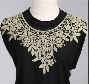 0ae4e0d2da76 1 unids oro Bordado collar Venise Encaje flores escote applique trim y Encaje  tela de costura