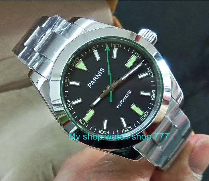 40mm PARNIS Black dial 21 jewels Automatic Self Wind movement Sapphire crystal men s watches 387A