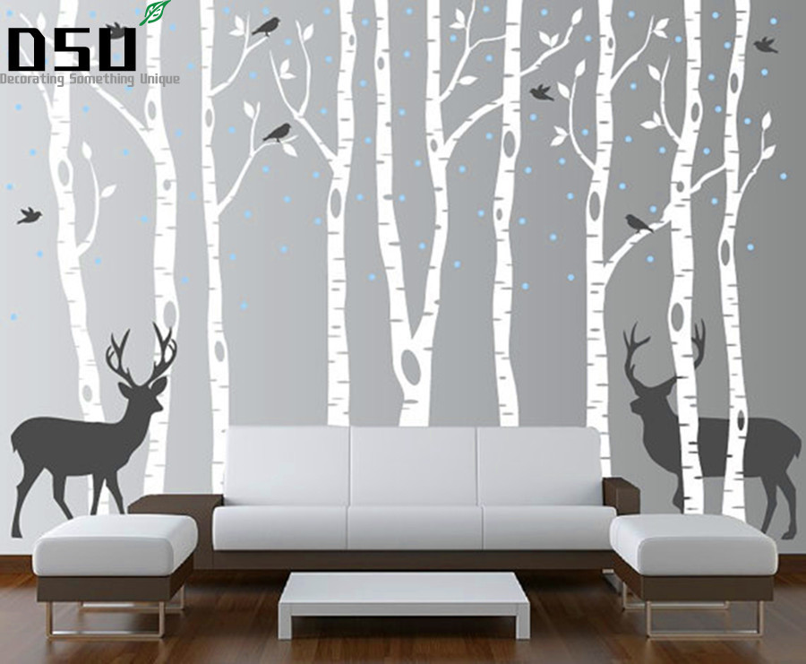 Large Size Snow, Birds, Deer & Tree Wall Sticker For Kids, Cartoon Nursery Baby Room Vinyl Decor Decal Free Shipping Wallpaper pure green mountain art wallpaper mural on the wall for kid s room wallpaper nursery room wall decor free shipping