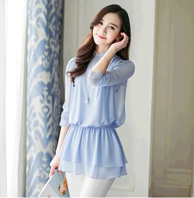 c476a3c41ce364 New 2015 Summer Light Blue Women Blouse Chiffon with Lace Floral Collar and  Cuff Korean Fashion Clothing Long Sleeve Ladies Tops