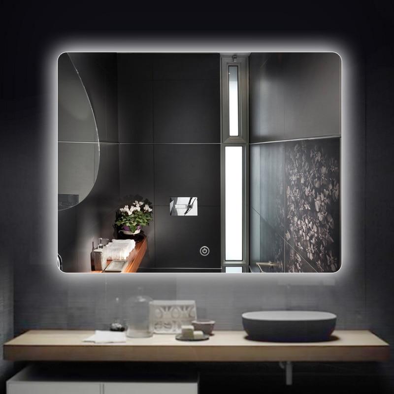 Светодиодная подсветка без рамки зеркало квадратное настенное крепление для ванной комнаты сенсорный выключатель светильник боковая подвеска зеркала для ванной комнаты