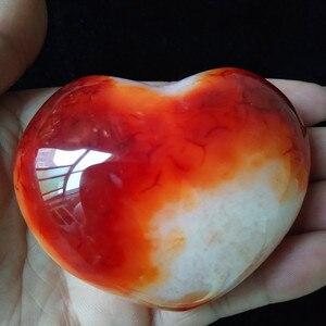 Image 5 - 1 قطعة الطبيعية الأحمر العقيق القلب النخيل ألعوبة hoime الديكور الأحجار بلورات استشفاء