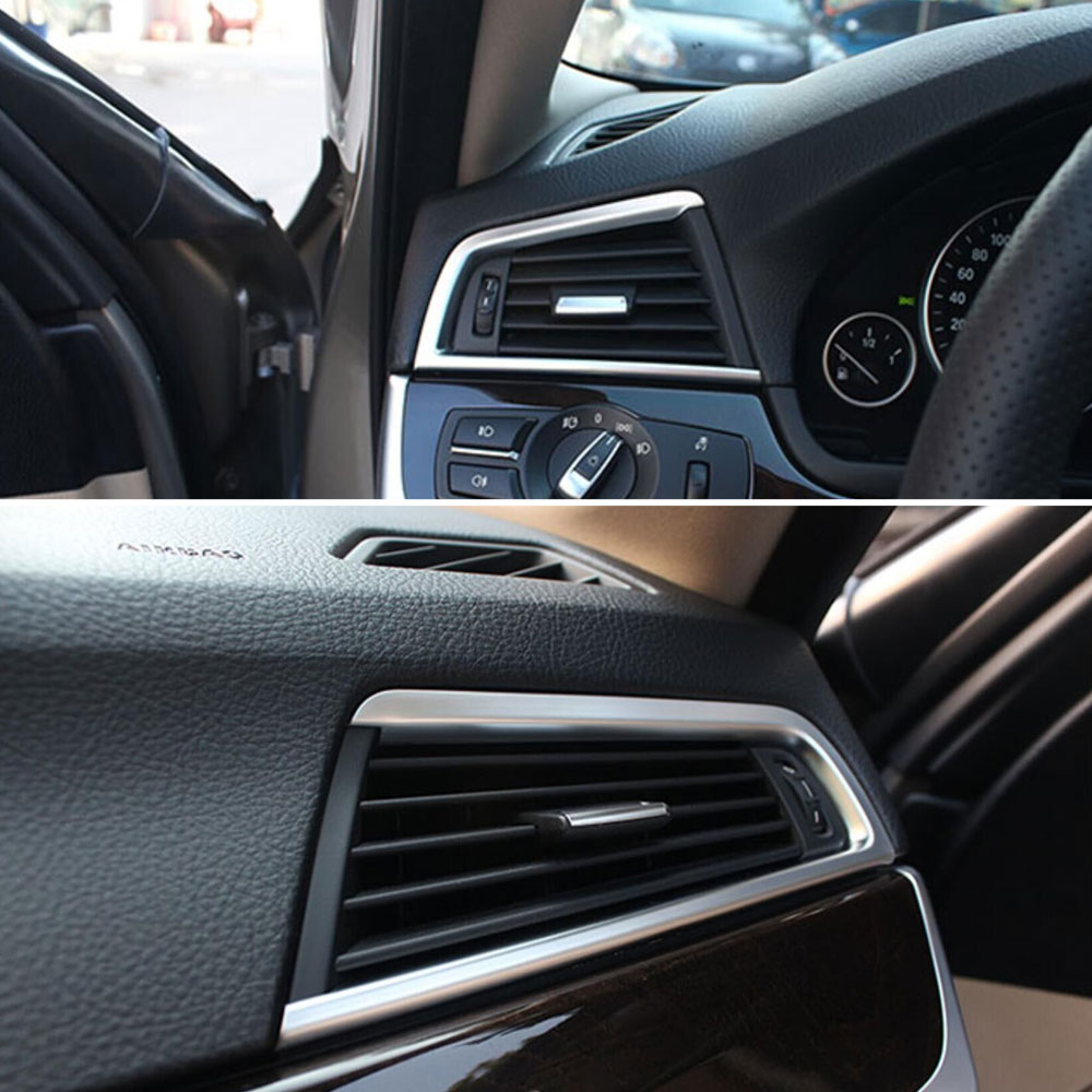 2PCS PAIR ABS Chrome Dashboard AC Console Air Vent Cover Trim Frame Decoration Fits For BMW 5 Series F10 F18 2011 2014 in Interior Mouldings from Automobiles Motorcycles