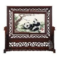 Панда Вышивка, китайский парча, настольные украшения, Изысканные Подарки