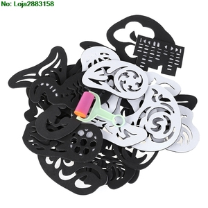 Image 4 - 25PCS Hair Tattoo Template Hair Trimmer Carved Coloring Cool Hairstyling Tool